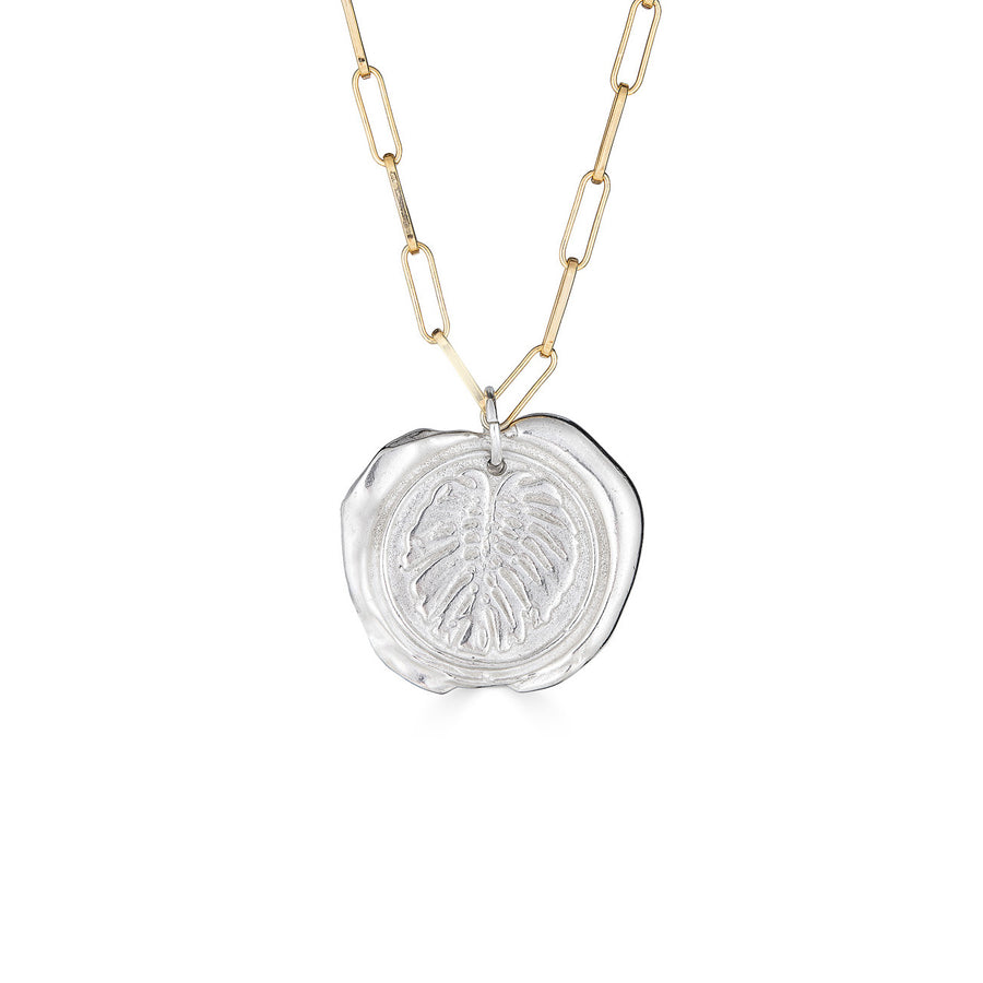 Wax Medallion Necklace, Silver