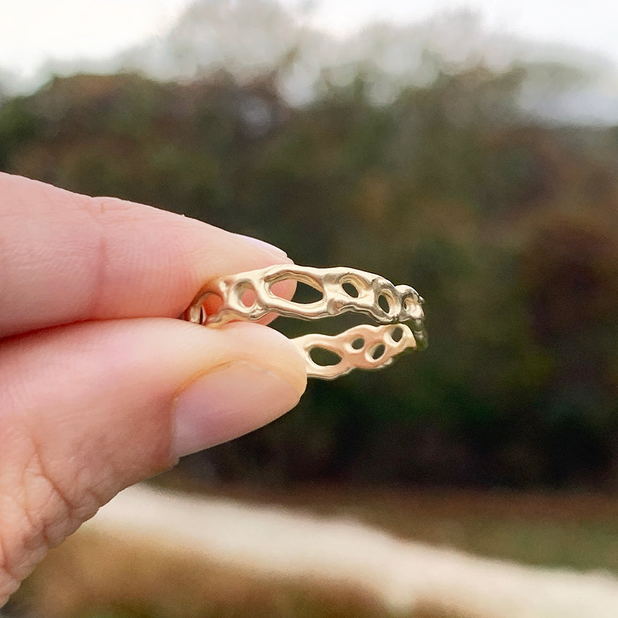Morel Stacking Ring, 14k
