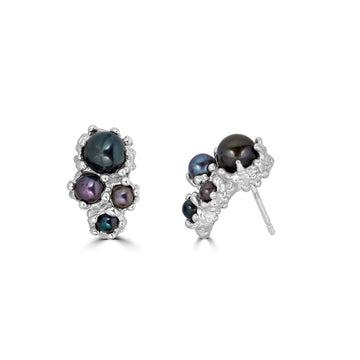 Pearl Anemone Earrings, Silver