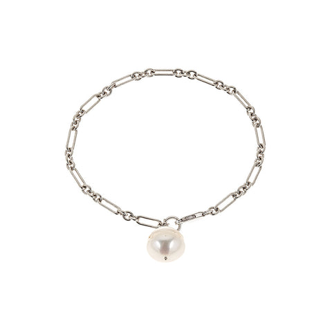 Baroque Pearl Necklace, Silver