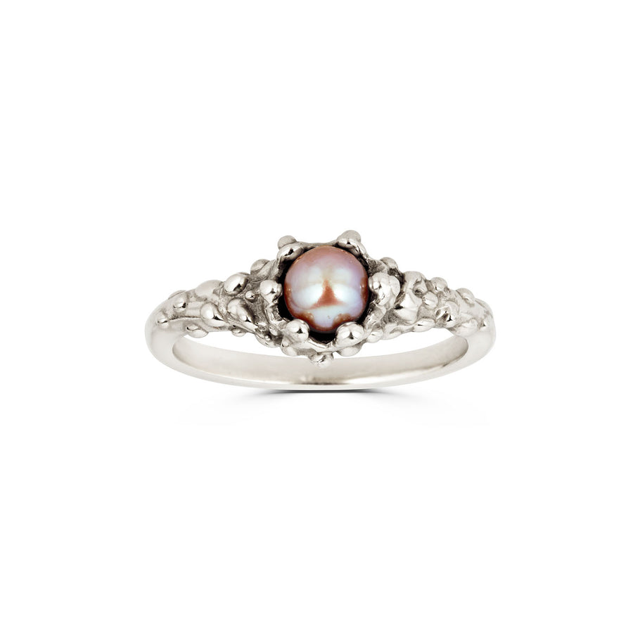 Pearl Pinky Ring, Silver