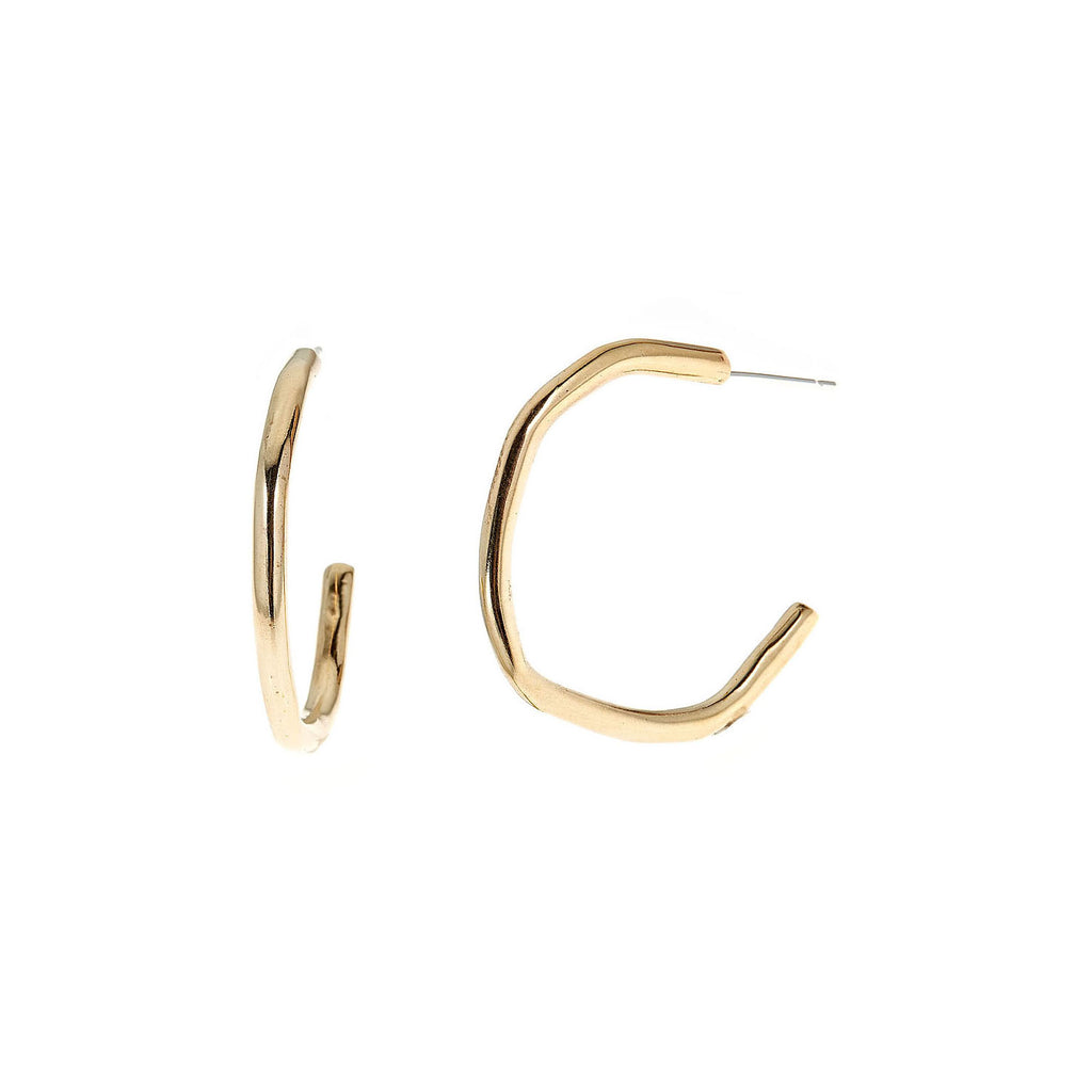 Rugged Medium Hoops, Brass