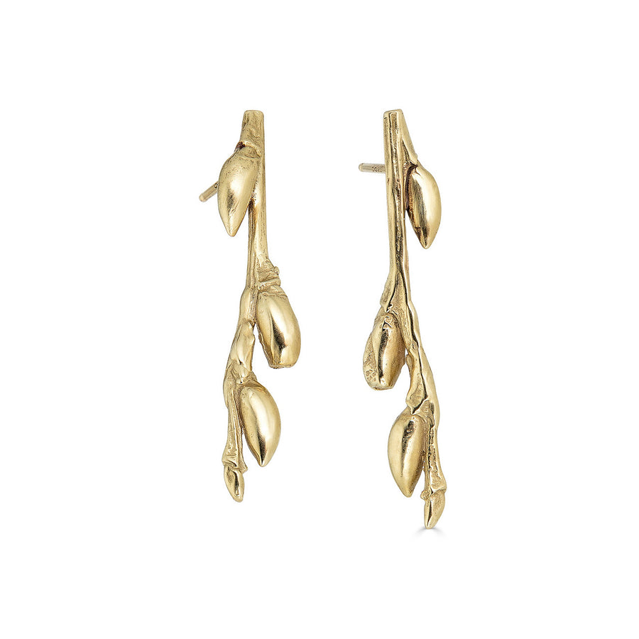 Willow Branch Earrings, 14k
