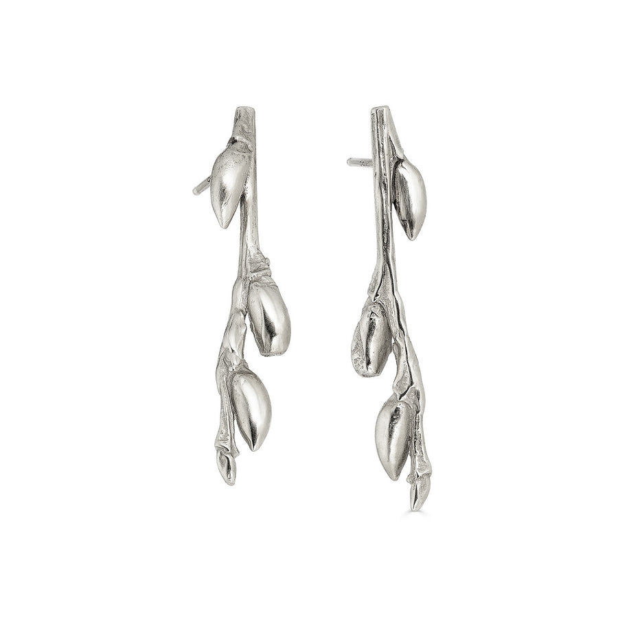Willow Branch Earrings, Silver