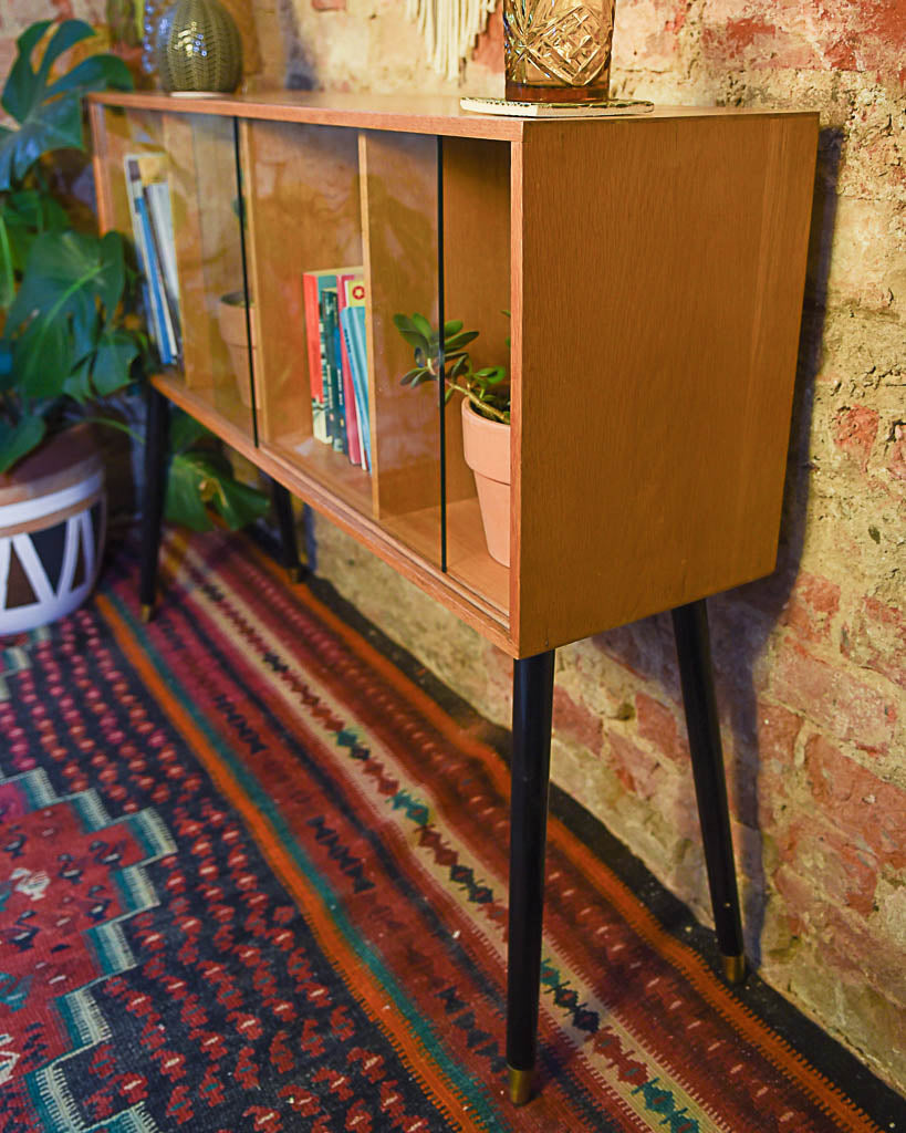 Mid Century Oak Cabinet with Glass Sliding Doors