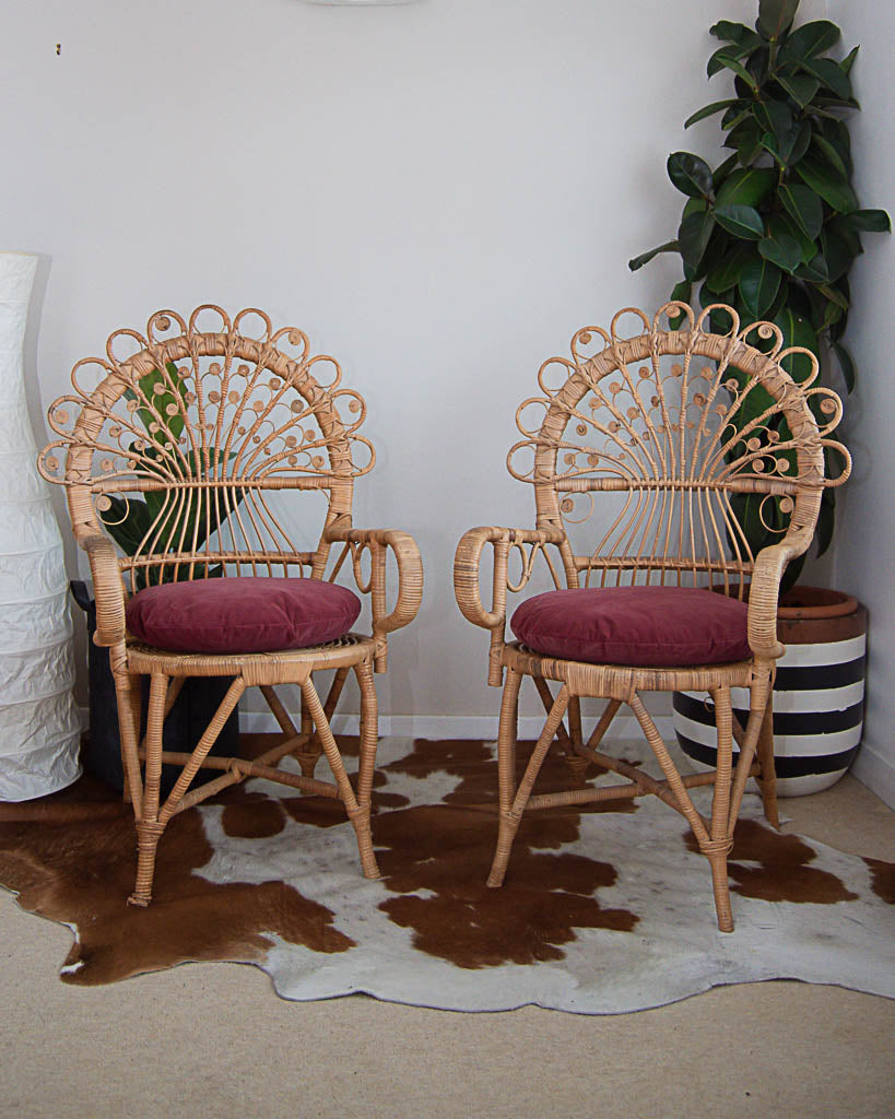 Sensational Boho Peacock Victorian Wicker Chairs Inc Cushions Gmtry Best Dining Table And Chair Ideas Images Gmtryco