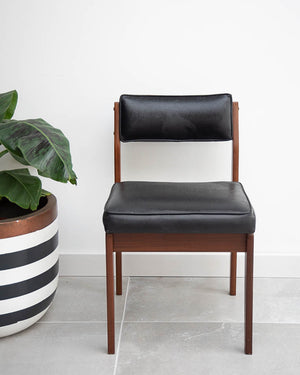 Mid Century Teak & Black Leatherette Dining Chairs