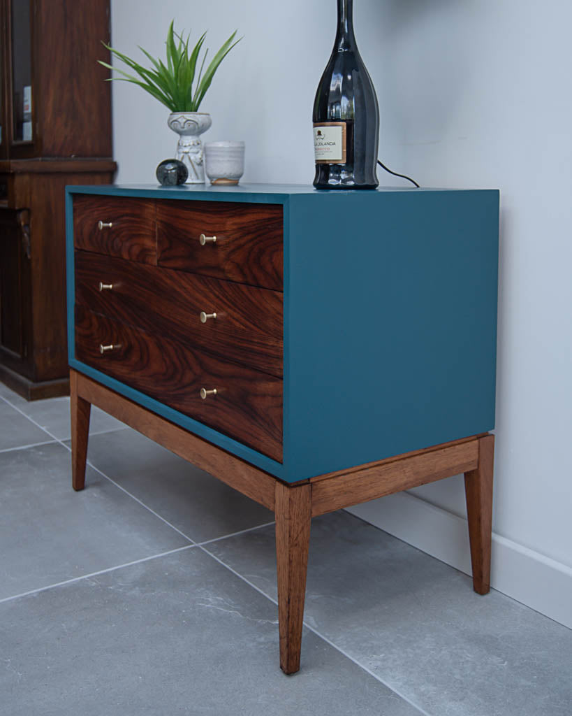 Mid Century Teal Blue, Rosewood & Teak Drawers