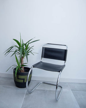 Mid Century Bauhaus Style Black Leatherette Chairs
