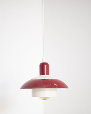 Vintage Plug & Hang Pendant Light Red & White