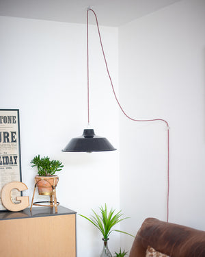 Industrial Plug & Hang Pendant Light (Black)