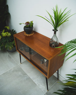 Mid Century Small Cocktail Cabinet / Sideboard (Glass Door)