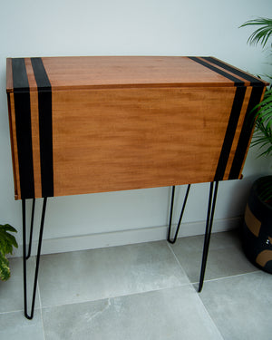 Mid Century Teak Cocktail / Desk Cabinet (Double Stripes)