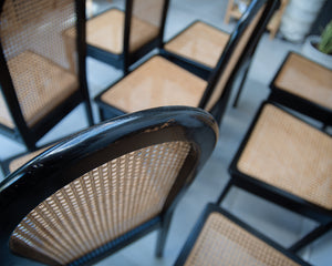 Ebonised Rattan 1980s Chairs (Set of Eight)
