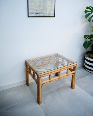 Vintage Bamboo & Glass Coffee Table