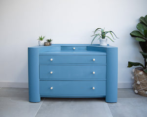 Blue Art Deco Style Drawers / Dressing Table