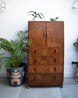 Art Deco Tallboy / Cocktail Cabinet / Linen Press