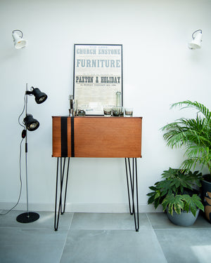 Mid Century Teak Cocktail / Desk Cabinet (Stripes)