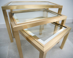 Hollywood Regency Vintage 1970s Brass and Glass Nesting Tables