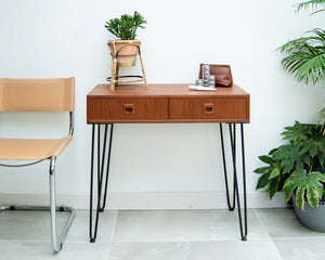 Teak Console Table With Hairpin Legs