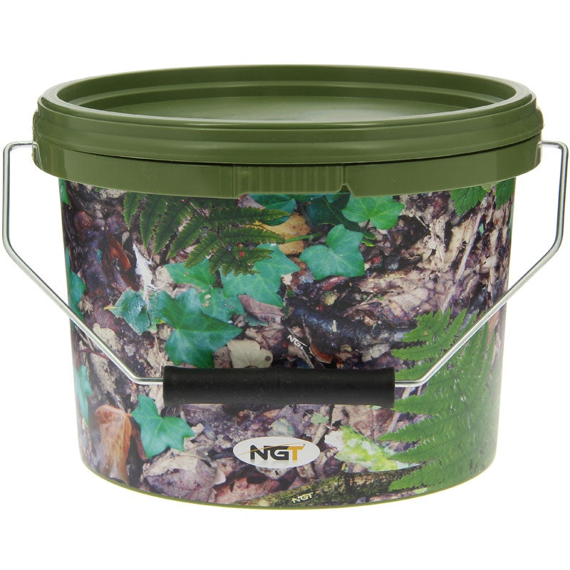 NGT Round Camo Bucket with Metal Handle