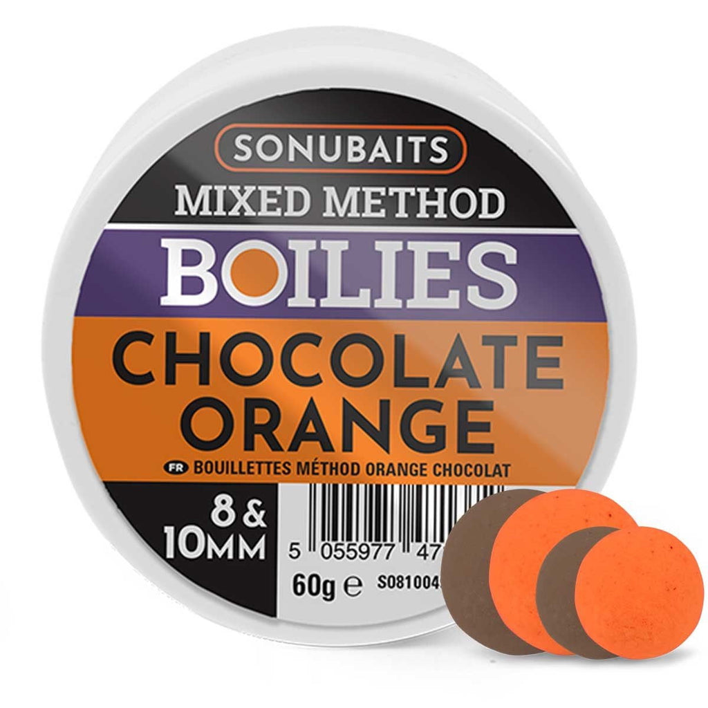 Sonubaits Mixed Method Boilies Chocolate Orange 8 &10mm - taskers-angling