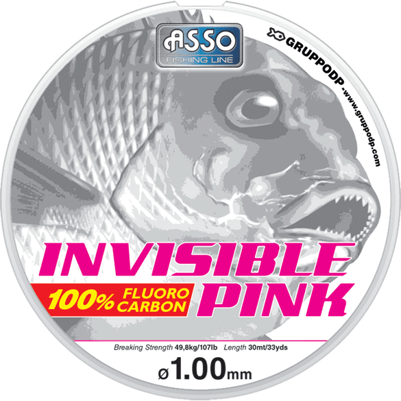 Asso Invisible Pink Fluorocarbon Line 0.30-0.40 30m - taskers-angling