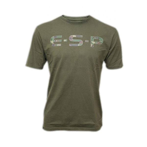ESP T-Shirt Camo Logo Olive - taskers-angling