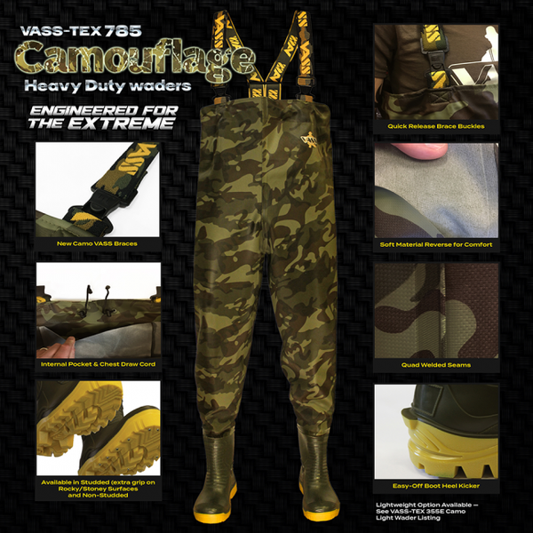 Vass 785 Heavy Duty Camouflage Chest Waders
