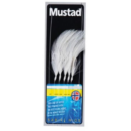Mustad 5 Hook White Feathers 6/0