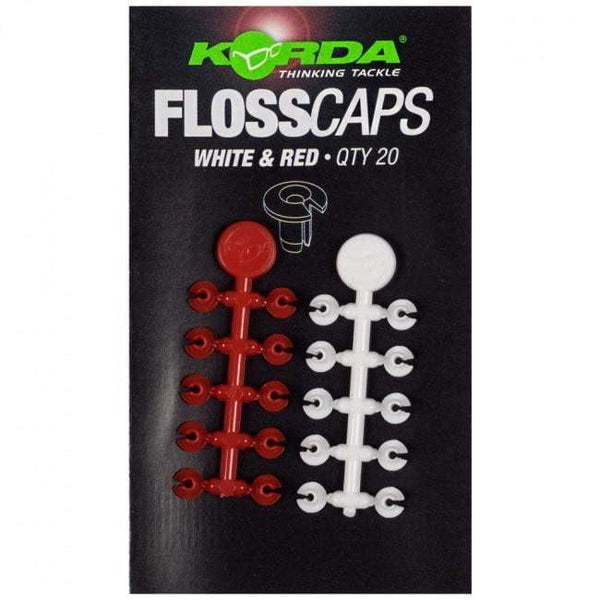 Korda Floss Caps White/Red - taskers-angling