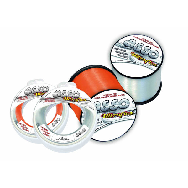 Asso Ultraflex Line 50m Spool Clear - taskers-angling