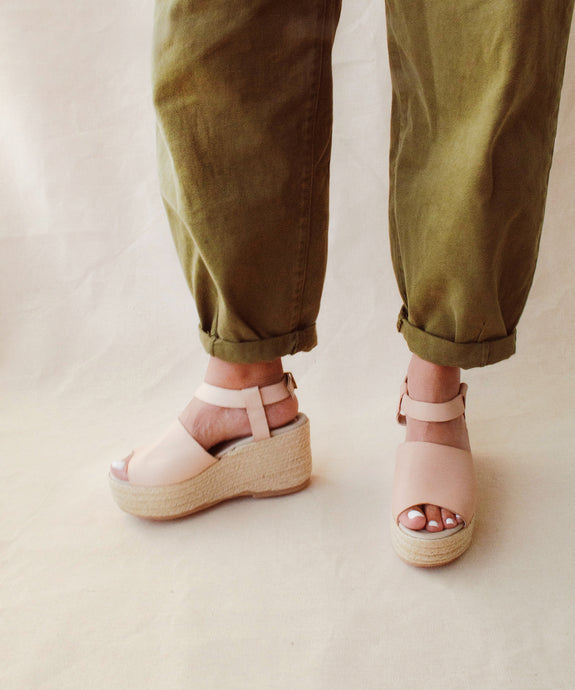 Block wedge sandals - nude