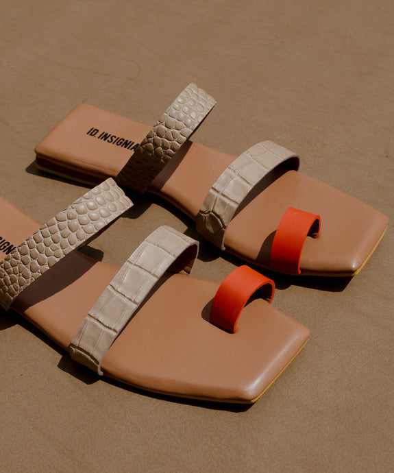 The Ocaso sandal – croco/naranja