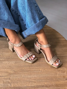 The Urbe Sandal - croco/taupe