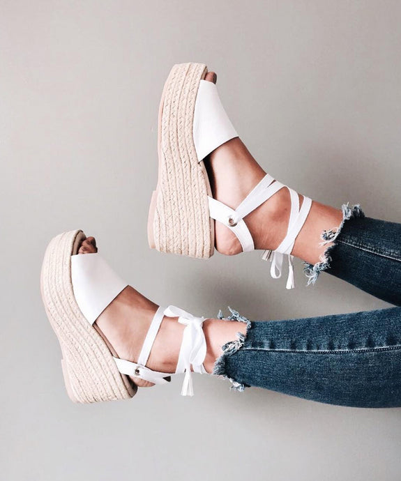 Block wedge sandals - blanco