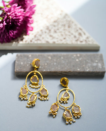 Gold Toned earrings handcrafted using semi-precious druzy uncut stones