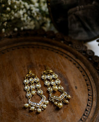 Handcrafted Polki Chandelier Earring with natural pearls