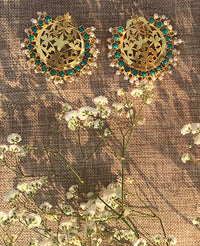 Gold plated earrings with turquoise stones