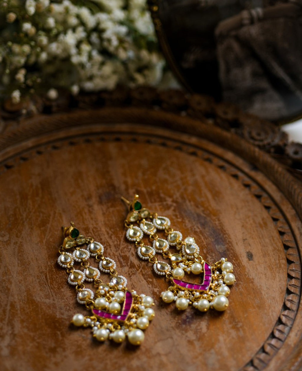 Handcrafted Polki Chandelier Earring with natural pearls and pink tourmaline
