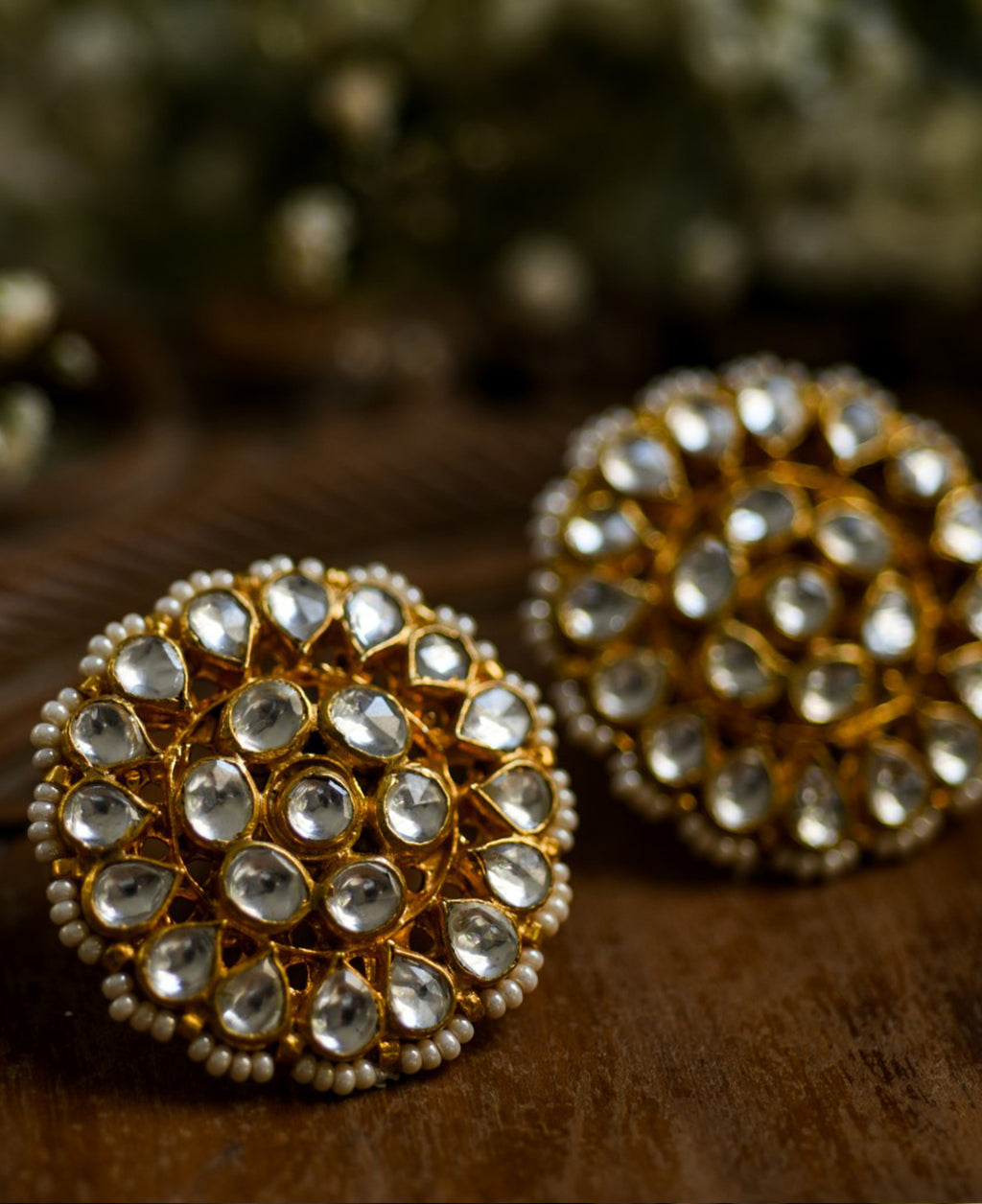 Rajasthani kan phool these earrings made Kundan and freshwater pearls