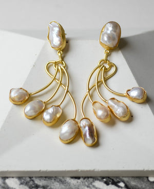 Contemporary layered baroque earrings