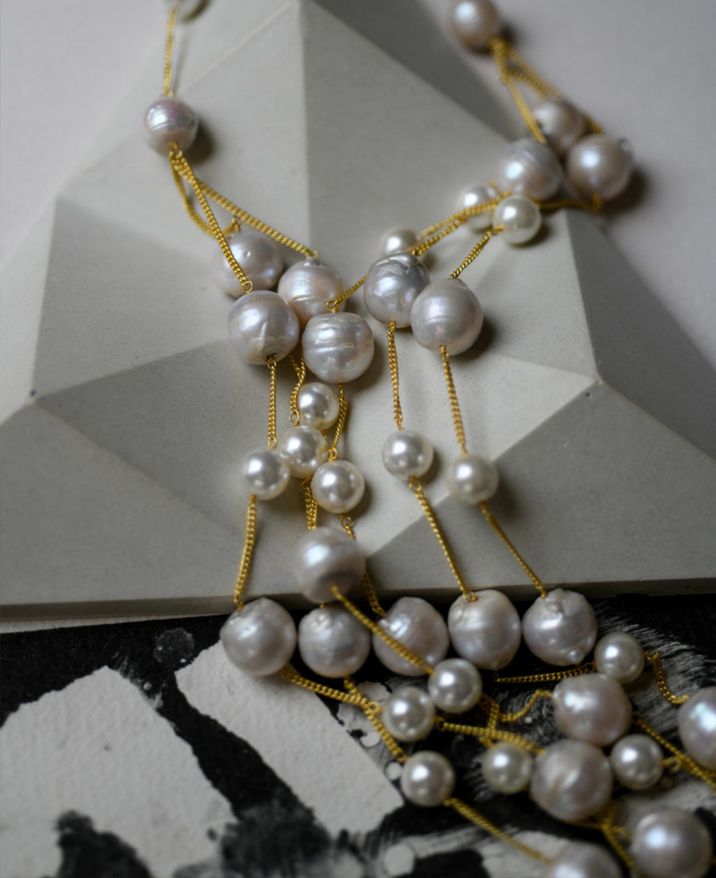 multi-layered baroque pearl necklace