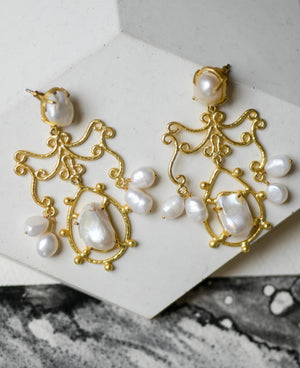 Gold plated baroque pearl earrings