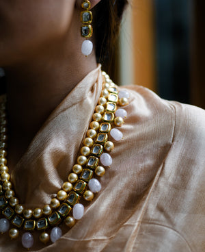 Kundan necklace with hand-painted Meena detail and hand-strung rose quartz drops