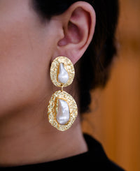Gold plated double baroque textured brass earrings