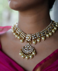 22K gold plated, pearls neck piece.