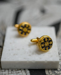 24k gold plated blue cuff links, made with sterling silver