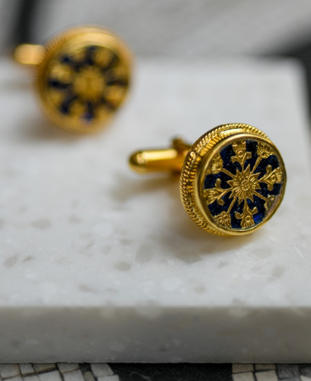 sterling silver blue cufflinks, 24k gold plated