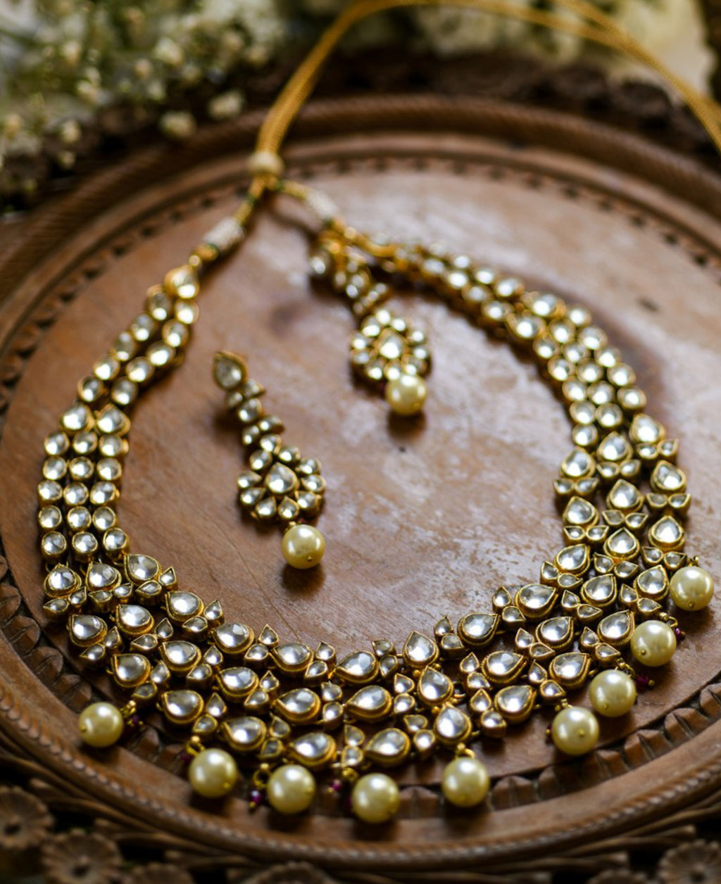 22K Gold plated Kundan necklace with pearls, and earrings